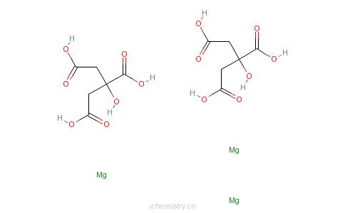 CAS:3344-18-1_柠檬酸镁的分子结构
