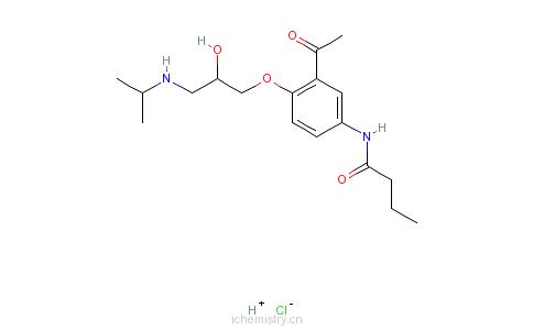 CAS:34381-68-5_盐酸醋丁洛尔的分子结构