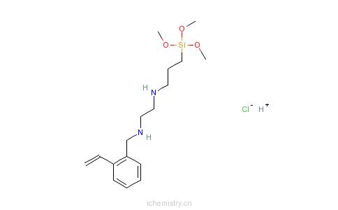 CAS:34937-00-3_乙烯基苄基氨乙基氨丙基三甲氧基硅烷盐酸盐的分子结构