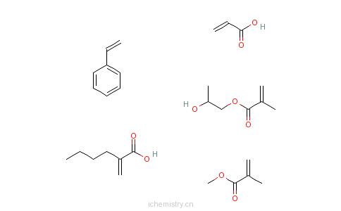 CAS:37237-99-3_2-甲基-2-丙烯酸甲酯与2-丙烯酸丁酯、苯乙烯、1,2-丙二醇单(2-甲基-2-丙烯酸酯)和2-丙烯酸的聚合物的分子结构