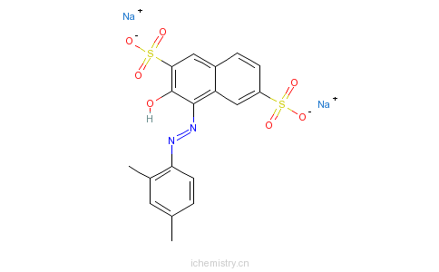 CAS:3761-53-3_4-[(2,4-二甲苯基)偶氮]-3-羟基-2,7-萘二磺酸二钠盐的分子结构