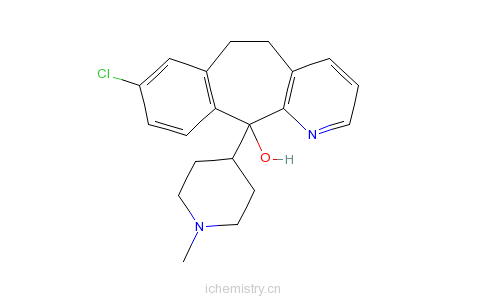 CAS:38089-93-9_8-氯-6,11-二氢-11-(1-甲基-4-哌啶基)-5H-苯并[5,6]环庚烷[1,2-b]吡啶-11-醇的分子结构