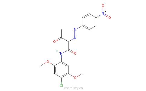 CAS:38489-19-9_N-(4-氯-2,5-二甲氧基苯基)-2-[(4-硝基苯基)偶氮-3-氧代丁酰胺的分子结构