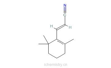 CAS:40244-29-9_(E)-3-(2,6,6-三甲基-1-环己烯-1-基)-2-丙烯晴的分子结构