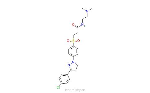 CAS:42952-21-6_3-[[4-[3-(4-氯苯基)-4,5-二氢-1H-吡唑-1-基]苯基]磺酰]-N-[2-(二甲氨基)乙基]丙酰胺的分子结构