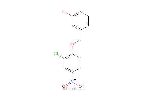 CAS:443882-99-3_3-氯-4-(3-氟苄氧基)硝基苯的分子结构