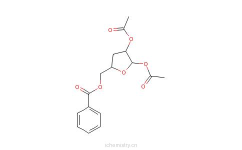 CAS:4613-71-2_5-O-苯甲酰基-1,2-二-O-乙酰基-3-脱氧-D-呋喃核糖的分子结构