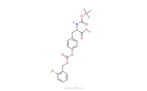 CAS:47689-67-8_N-叔丁氧羰基-O-(2-溴苄氧羰基)-L-酪氨酸的分子结构