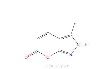 CAS:5203-98-5_3,4-二甲基-1,6-二氢吡喃并[2,3-C吡唑-6-酮的分子结构