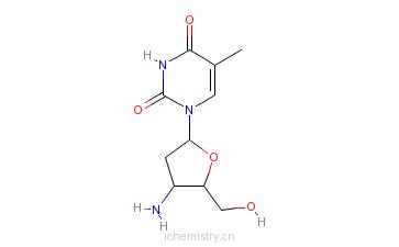 CAS:52450-18-7_3'-氨基-2',3'-双脱氧胸苷的分子结构