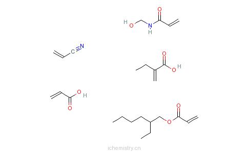 CAS:52640-81-0_2-丙烯酸与2-丙烯酸-2-乙基己酯、2-丙烯酸乙酯、N-(羟甲基)-2-丙烯酰胺和2-丙烯腈的聚合物的分子结构