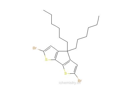 CAS:528570-55-0_2,6-二溴-4,4-二己基-4H-环戊并[2,1-B:3,4-B']二噻吩的分子结构