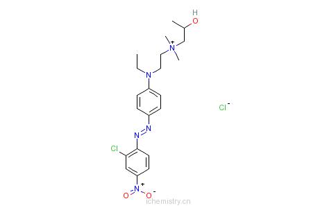 CAS:54229-13-9_N-[2-[[4-[(2-氯-4-硝基苯基)偶氮]苯基]乙基氨基]乙基]-2-羟基-N,N-二甲基-丙铵氯化物的分子结构