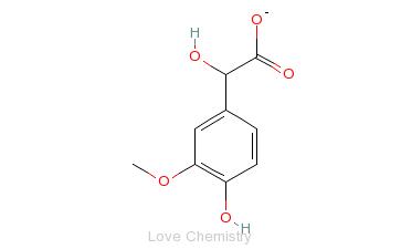 CAS:55-10-7_3-甲氧基-4-羟基扁桃酸的分子结构