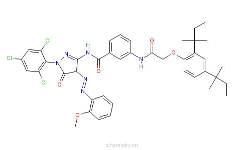CAS:55664-78-3_1-(2,4,6-三氯苯基)-3-[3-(2,4-二特戊基苯氧基)乙酰胺基]苯甲酰胺基-4-对甲氧基苯基偶氮-5-吡唑酮的分子结构
