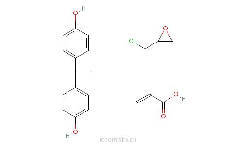 CAS:55818-57-0_4,4'-(1-甲基亚乙基)二苯酚与(氯甲基)环氧乙烷和2-丙烯酸酯的聚合物的分子结构