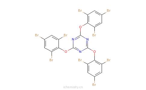 CAS:56362-01-7_2,4,6-三(三溴苯氧基)-1,3,5-三嗪的分子结构