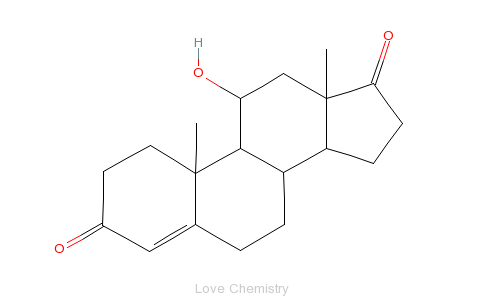 CAS:564-33-0_11b-羟基-雄甾-4-烯-3,17-二酮的分子结构