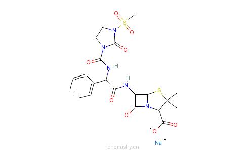 CAS:59798-30-0_美洛西林钠的分子结构