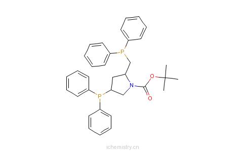 CAS:61478-28-2_(2S,4S)-4-二苯基膦-2-(二苯基膦甲基)-N-叔丁氧羰基-吡咯烷的分子结构
