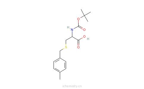 CAS:61925-77-7_N-叔丁氧羰基-S-(4-甲基苄基)-L-半胱氨酸的分子结构