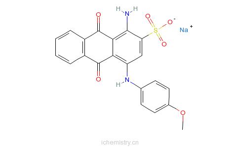 CAS:63589-10-6_1-氨基-9,10-二氢-4-[(4-甲氧基苯基)氨基]-9,10-二氧代-2-蒽磺酸单钠盐的分子结构