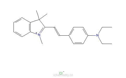 CAS:6359-45-1_2-[2-[4-(二乙氨基)苯基]乙烯基]-1,3,3-三甲基-3H-吲哚翁氯化物的分子结构