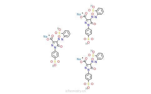 CAS:6359-60-0_4,5-二氢-5-氧代-1-(4-磺基苯基)-4-[(2-磺基苯基)偶氮]-1H-吡唑-3-甲酸三钠盐的分子结构