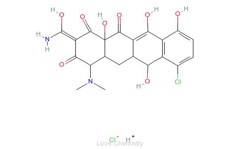 CAS:64-73-3_盐酸地美环素的分子结构