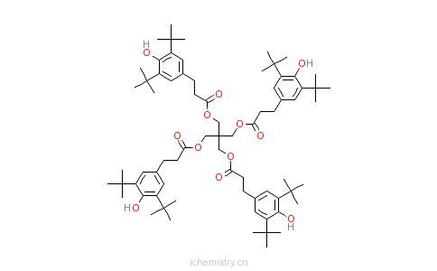 CAS:6683-19-8_四(3,5-二叔丁基-4-羟基)苯丙酸季戊四醇酯的分子结构