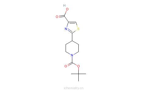 CAS:668484-45-5_2-[1-(叔丁氧羰酰)-4-哌啶基]-1,3-噻唑-4-甲酸的分子结构