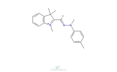 CAS:68134-38-3_1,3,3-三甲基-2-[[甲基(4-甲基苯基)亚肼基]甲基]-3H-吲哚翁氯化物的分子结构