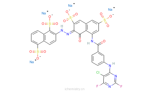 CAS:68238-92-6_2-[[8-[[3-[(5-氯-2,6-二氟-4-嘧啶基)氨基]苯甲酰基]氨基]-1-羟基-3,6-二磺酸基-2-萘基]偶氮]萘-1,5-二磺酸的分子结构