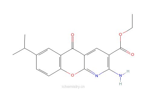 CAS:68301-99-5_2-氨基-7-异丙基-5-氧代-5H-[1]苯并吡喃[2,3-b]吡啶-3-羧酸乙酯的分子结构