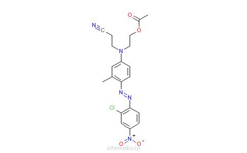CAS:68516-64-3_N-[(2-乙酰氧)乙基][4-[(2-氯-4-硝基苯基)偶氮]-N-甲基苯基]氨基]丙腈的分子结构