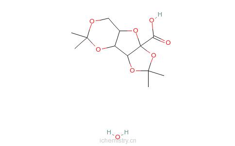 CAS:68539-16-2_2,3:4,6-二亚异丙基-2-酮-L-古洛糖酸(一水)的分子结构