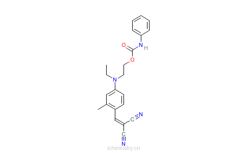 CAS:6858-49-7_[[4-[乙基[2-[[(苯胺基)羰基]氧]乙基]氨基]-2-甲基苯基]亚甲基]丙二腈的分子结构