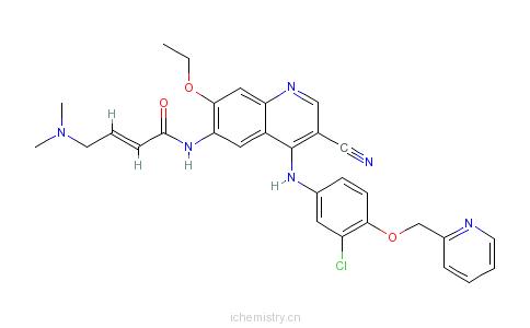 CAS:698387-09-6_(2E)-N-[4-[[3-氯-4-[(吡啶-2-基)甲氧基]苯基]氨基]-3-氰基-7-乙氧基喹啉-6-基]-4-(二甲基氨基)丁-2-烯酰胺的分子结构