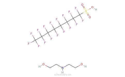 CAS:70225-14-8_1,1,2,2,3,3,4,4,5,5,6,6,7,7,8,8,8-十七氟-1-辛烷磺酸与2,2'-亚氨基双[乙醇]的化合物的分子结构