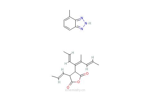 CAS:71829-80-6_二氢-3-四丙烯基-2,5-呋喃二酮与甲基-1H-苯并三唑的化合物的分子结构