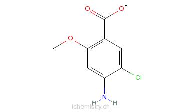 CAS:7206-70-4_4-氨基-5-氯-2-甲氧基苯甲酸的分子结构