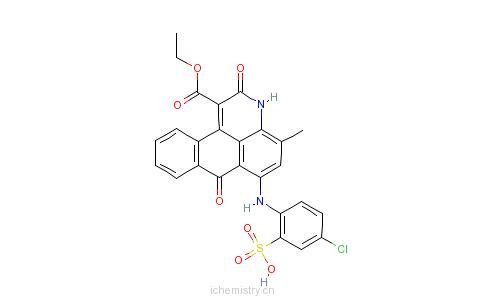 CAS:72121-77-8_6-[(4-氯-2-硫苯基)氨基]-2,7-二氢-4(或5)-甲基-2,7-二氧代-3H-二苯并[F,IJ]异喹啉-1-羧酸-1-乙酯的分子结构