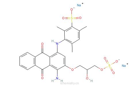 CAS:72152-62-6_3-[[4-氨基-9,10-二氢-3-[2-羟基-3-(磺酰氧基)丙氧基]-9,10-二氧代-1-蒽基]氨基]-2,4,6-三甲基苯磺酸二钠盐的分子结构