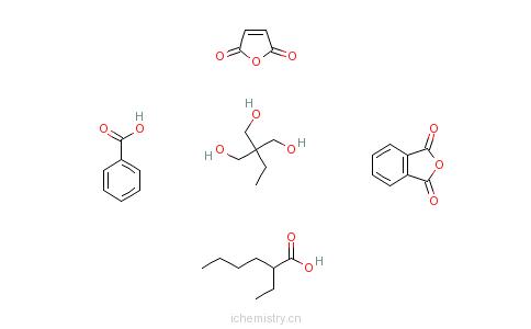 CAS:72244-96-3_邻苯二甲酸酐与2-乙基-2-羟甲基-1,3-丙二醇、2,5-呋喃二酮和2-乙基己酸苯甲酸酯的聚合物的分子结构