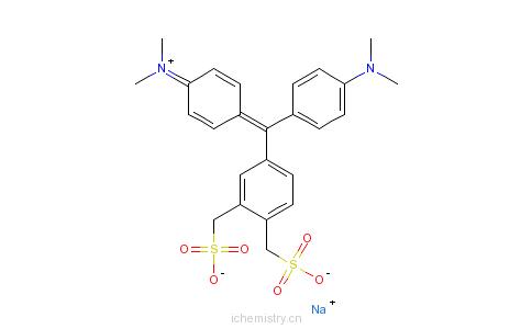 CAS:72797-23-0_N-[4-[(3,4-双磺酸甲基苯基)(4-二甲胺基苯基)亚甲基]-2,5-环己二烯-1-亚基]-N-甲基甲胺内盐钠盐的分子结构