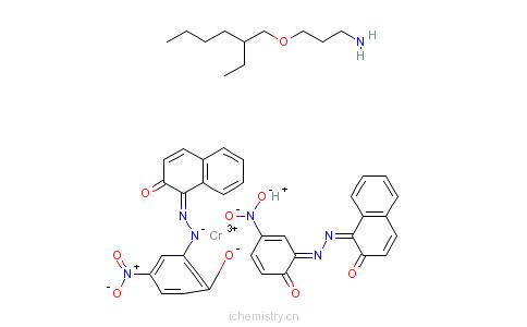 CAS:72812-35-2_[二[1-[(2-羟基-5-硝基苯基)偶氮]-2-萘酚合(2-)]铬酸(1-)氢盐与3-[(2-乙基己基)氧基]-1-丙胺(1:1)]的化合?的分子结构
