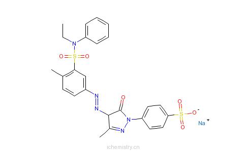 CAS:72968-72-0_4-[4-[[3-[(乙基苯基氨基)磺酰基]-4-甲基苯基]偶氮]-4,5-二氢-3-甲基-5-氧代-1H-吡唑-1-基]苯磺酸钠盐的分子结构