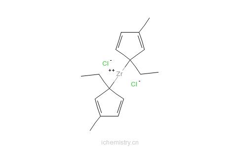 CAS:73364-11-1_双(1-乙基-3-甲基环戊二烯)二氯化锆的分子结构
