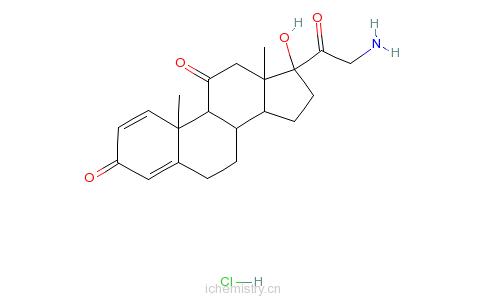 CAS:744254-12-4_21-氨基-17-羟基孕甾-1,4-二烯-3,11,20-三酮盐酸盐的分子结构