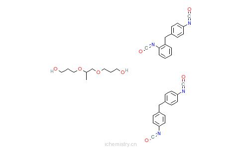 CAS:75880-28-3_三聚1,2-丙二醇与4,4'-二苯甲烷二异氰酸酯和2,4'-二苯甲烷二异氰酸酯的聚合物的分子结构